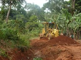 A grader opens up land formerly occupied by a farmer in Bugala, Uganda