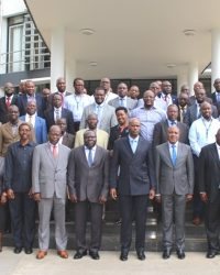 Amb. Mfumukeko (fourth right) thanked EAC staff for their dedication and professionalism