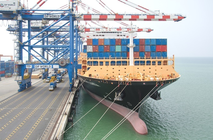 A container ship berths at Doraleh before DP World were thrown out by the Djibouti government